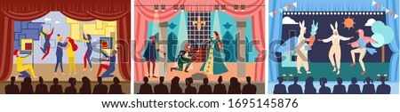 Actors on theater stage vector illustration. Cartoon flat character play act or scene of drama show in theatre interior, acting people in opera performance, audience watching theatrical premiere set