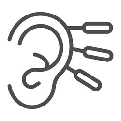 Acupuncture and human ear line icon, Alternative Medicine concept, Chinese medicine hearing aid sign on white background, Ear with Acupuncture Needles icon in outline style. Vector graphics