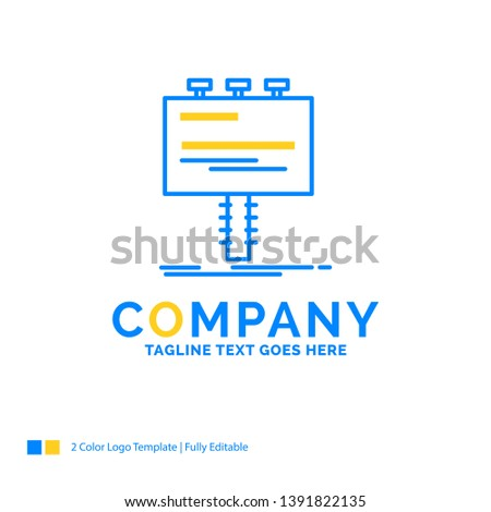 Ad, advertisement, advertising, billboard, promo Blue Yellow Business Logo template. Creative Design Template Place for Tagline.