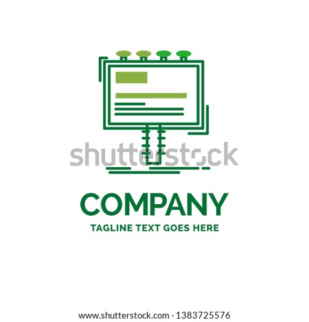 ad, advertisement, advertising, billboard, promo Flat Business Logo template. Creative Green Brand Name Design.