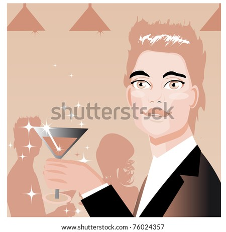 Ad Art Banner Man drink in bar and love couple silhouette background