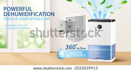 Ad banner design for dehumidifier or air purifier. 3d illustration of house appliance purifying air for house living room. Concept of allergy or covid prevention.