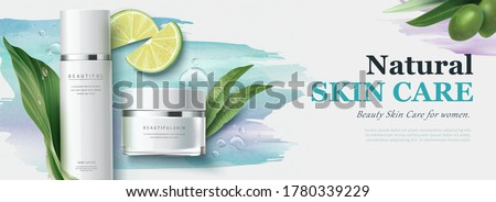 Ad banner for natural beauty products, skincare mock-ups decorated with watercolor strokes and organic ingredients, 3d illustration