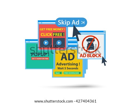 ad block popup banner concept. isolated vector