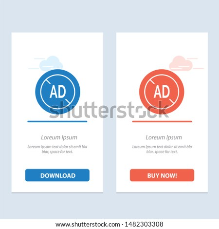 Ad, Blocker, Ad Blocker, Digital  Blue and Red Download and Buy Now web Widget Card Template