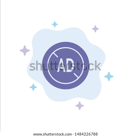 Ad, Blocker, Ad Blocker, Digital Blue Icon on Abstract Cloud Background. Vector Icon Template background