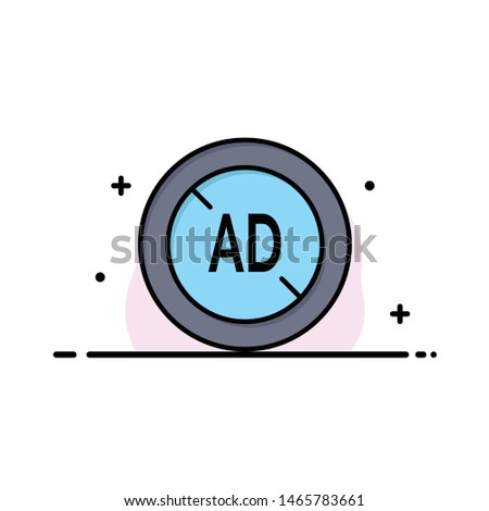 Ad, Blocker, Ad Blocker, Digital Business Logo Template. Flat Color. Vector Icon Template background