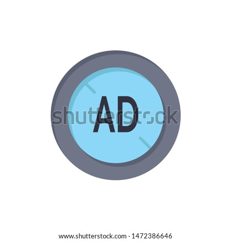 Ad, Blocker, Ad Blocker, Digital  Flat Color Icon. Vector icon banner Template