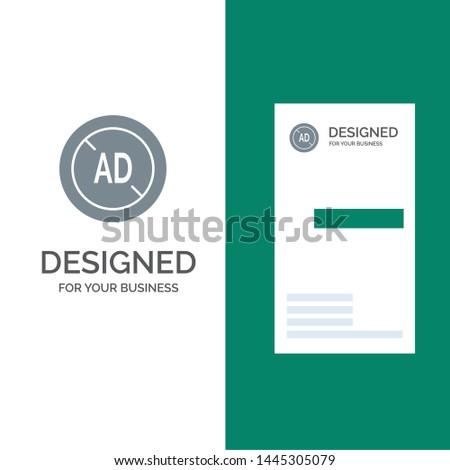 Ad, Blocker, Ad Blocker, Digital Grey Logo Design and Business Card Template