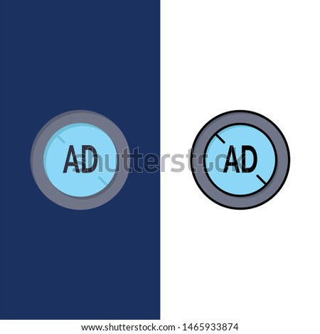 Ad, Blocker, Ad Blocker, Digital  Icons. Flat and Line Filled Icon Set Vector Blue Background. Vector Icon Template background