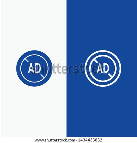 Ad, Blocker, Ad Blocker, Digital Line and Glyph Solid icon Blue banner Line and Glyph Solid icon Blue banner