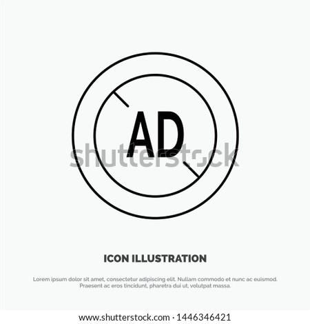 Ad, Blocker, Ad Blocker, Digital Line Icon Vector