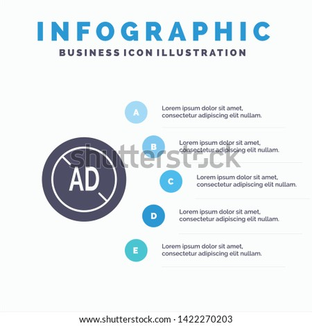 Ad, Blocker, Ad Blocker, Digital Solid Icon Infographics 5 Steps Presentation Background