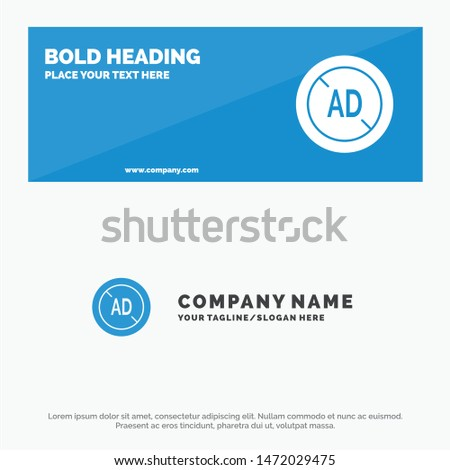 Ad, Blocker, Ad Blocker, Digital SOlid Icon Website Banner and Business Logo Template