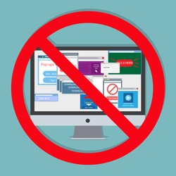Ad blocking, Pop up ad blocker flat vector banner icon. Advertising on the computer. Stop spam.
