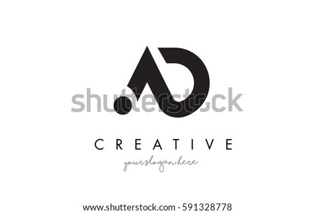 AD Letter Logo Design with Creative Modern Trendy Typography and Black Colors.