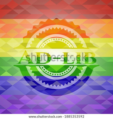 Ad-lib emblem on mosaic background with the colors of the LGBT flag.  Stockfoto ©