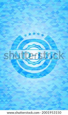 Ad-lib realistic sky blue emblem. Mosaic background.  Stockfoto ©