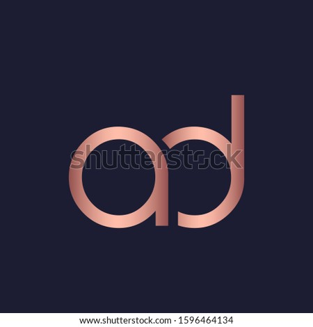 AD monogram logo.Typographic overlapping lowercase letter a and letter d icon.Lettering sign.Alphabet rose gold metallic initials isolated on dark background.Modern, corporate,web style characters.