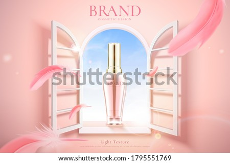 Ad template for beauty product, bottle mock-up set by pink window with flying feathers, concept of young and feminine, 3d illustration
