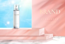 Ad template for beauty product, feminine concept, bottle mock-up set on pink square podium in 3d illustration