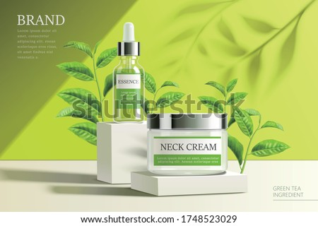 Ad template for face essence, serum, lotion and cream, realistic products displayed on pedestals with green tea seedlings, 3d illustration