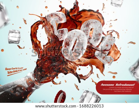 Ad template for fresh iced cola, with splashes bursting out of bottle rim and frozen ice blocks forming the word COOL, 3d illustration Zdjęcia stock ©