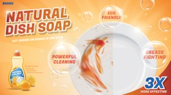 Ad template for natural dish soap, with before and after cleaning effect on white dish, 3d illustration
