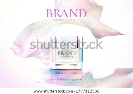 Ad template for refreshing face cream, product mock-up with flying rainbow chiffon in 3d illustration