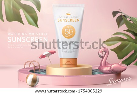 Ad template for summer products, sunscreen tube mock-up displayed on podium in swimming pool, 3d illustration