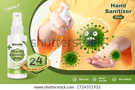 Ad template of hand sanitizer spray, realistic young woman sanitize her hands with hand-washing spray to prevent diseases, 3d illustration
