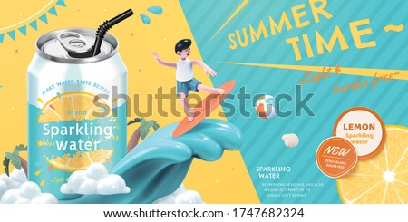 Ad template of lemon sparkling water, with cute boy surfing beside soda can, concept of summer beverage, 3d illustration