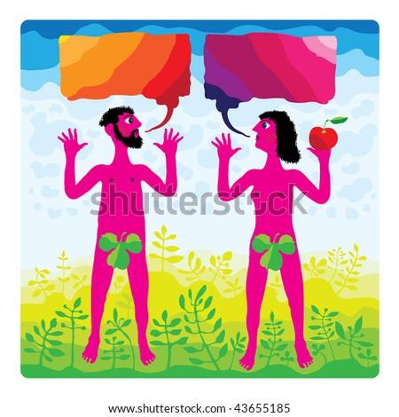 Adam and Eve in Heaven vivid illustration