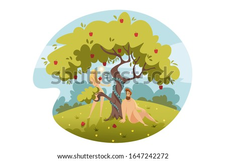 Adam and Eve, original sin, Bible concept. Eve temptated by snake satan, bites apple from tree of life and falls into sin. Biblical illustration of Adam and Eves original sin in cartoon style.