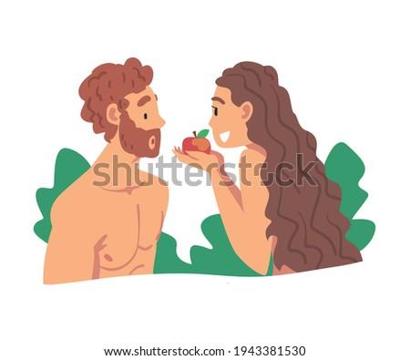 Adam and Eve Partaking Forbidden Fruit as Narrative from Bible Vector Illustration Stok fotoğraf ©