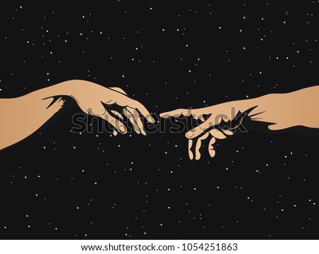 Adam and God hands on space background. Vector illustration
