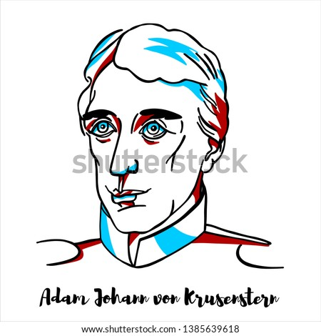 Adam Johann von Krusenstern engraved vector portrait with ink contours. Baltic German admiral and explorer, who led the first Russian circumnavigation of the globe.