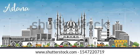 Adana Turkey City Skyline with Color Buildings and Blue Sky. Vector Illustration. Business Travel and Concept with Historic Architecture. Adana Cityscape with Landmarks.
