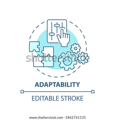 Adaptability concept icon. Creative thinking skills. Adjust ability to different options. Respond to changes idea thin line illustration. Vector isolated outline RGB color drawing. Editable stroke Stockfoto ©