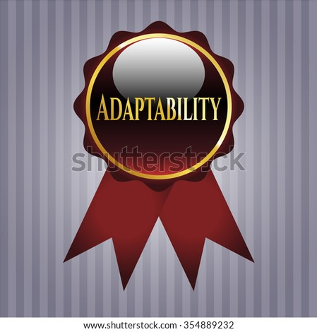 Adaptability golden emblem or ribbon (red color)