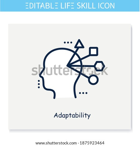 Adaptability line icon. Flexibility. Personality strengths and characteristics. Soft skills concept. Human resources management. Self improvement. Isolated vector illustration. Editable stroke  Foto stock ©
