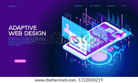 Adaptive interface design. Developers use software on multiple devices. Cross-platform software. 3d isometric vector illustration.