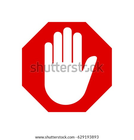 Adblock or red stop sign icon with hand