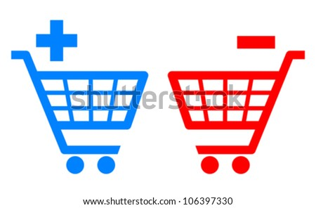 Add and remove shopping carts, vector illustration