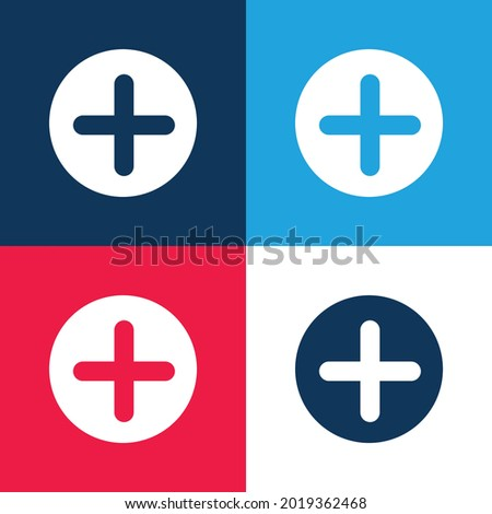 Add Button With Plus Symbol In A Black Circle blue and red four color minimal icon set