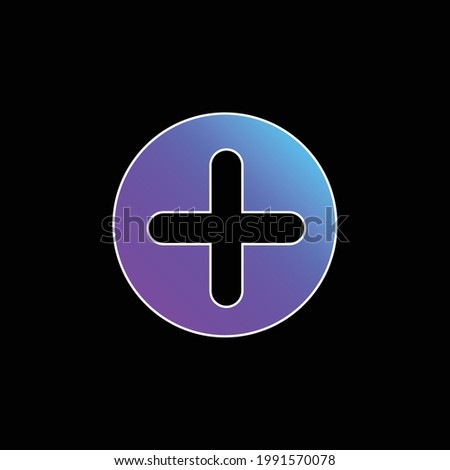 Add Button With Plus Symbol In A Black Circle blue gradient vector icon