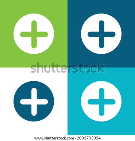 Add Button With Plus Symbol In A Black Circle Flat four color minimal icon set