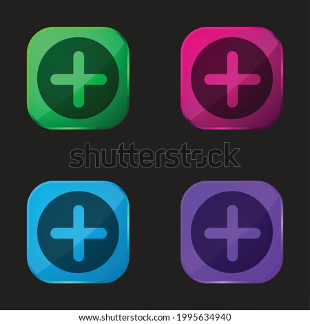 Add Button With Plus Symbol In A Black Circle four color glass button icon
