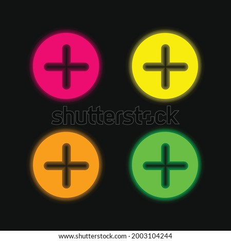 Add Button With Plus Symbol In A Black Circle four color glowing neon vector icon