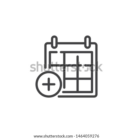Add calendar page line icon. linear style sign for mobile concept and web design. Calendar plus outline vector icon. Symbol, logo illustration. Vector graphics